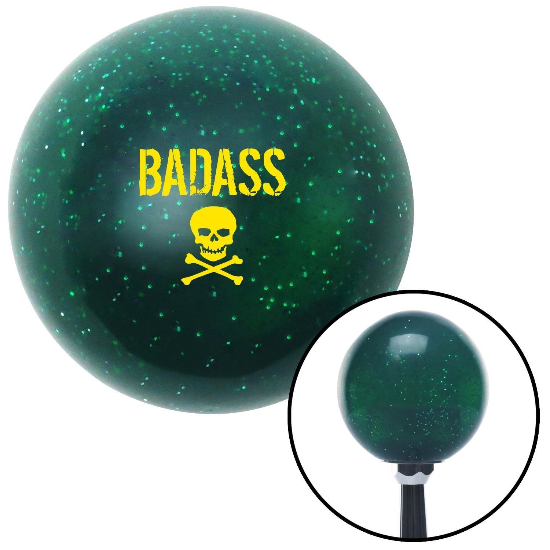 Yellow Bad Ass Skull Green Metal Flake with M16 x 1.5 Insert American Shifter 284140 Shift Knob
