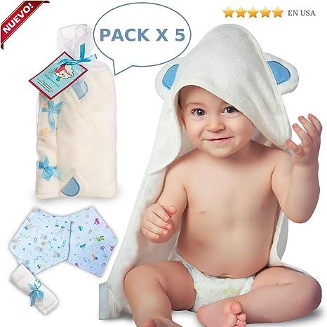 Toalla de bebé con capucha de bambú con toallita y dos baberos de regalo | Orgánico,