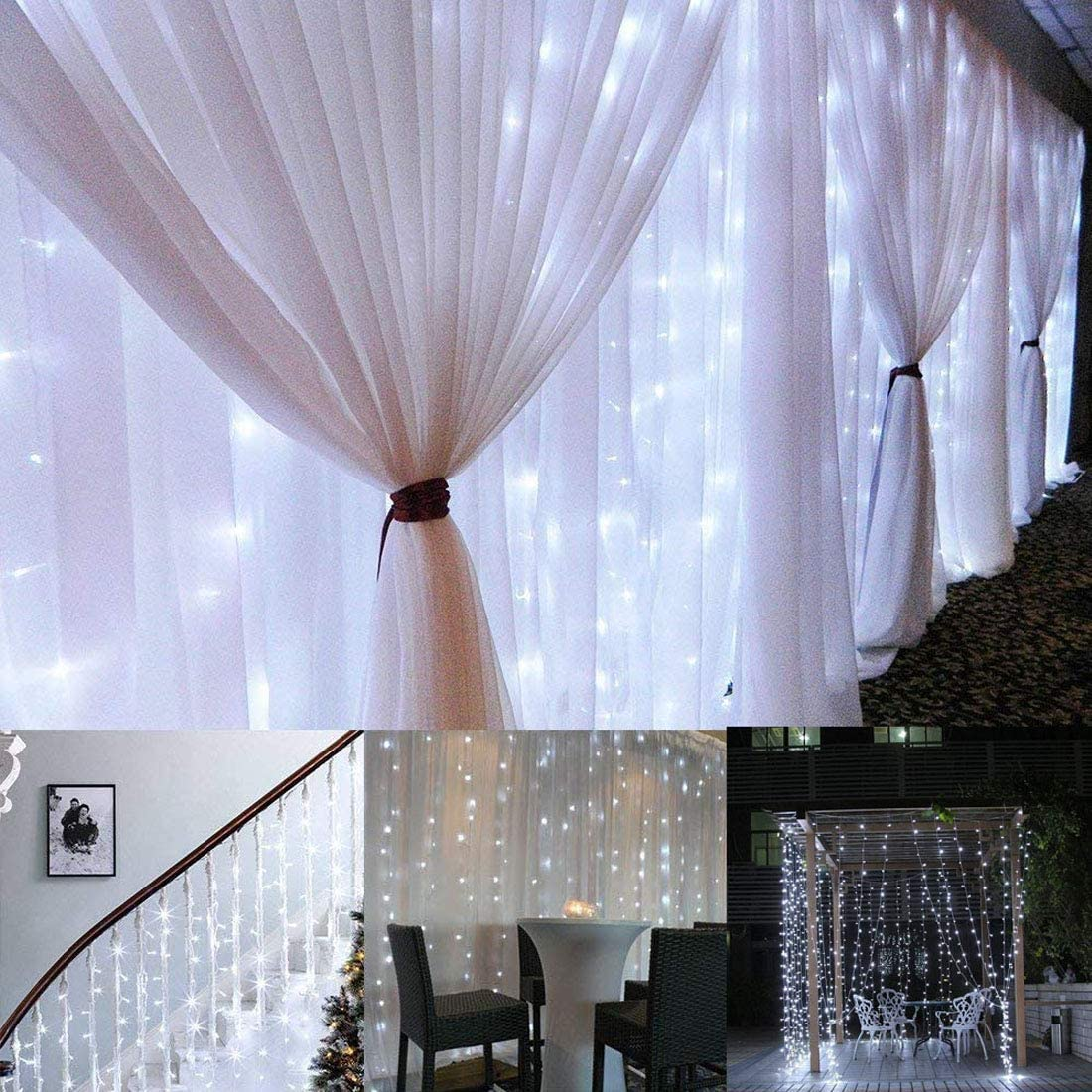 300 LED Window Curtain String Light Wedding Party Home Garden Bedroom Outdoor Indoor Wall Decorations (White)