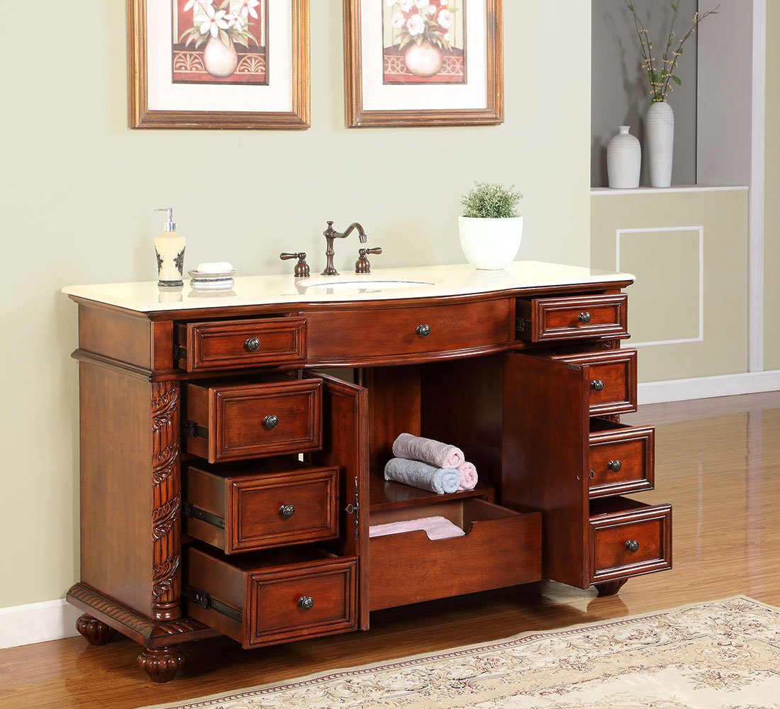 Silkroad Exclusive Creamy Marble Stone Single Sink Bathroom Vanity with Furniture Cabinet, 60-Inch by Silkroad Exclusive (Image #3)