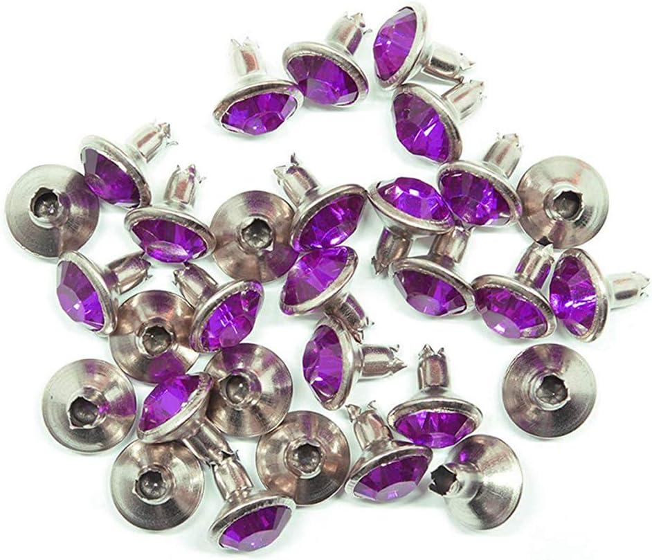 Chaussures etc Violet Ceintures Sacs WedDecor Lot de 10 Rivets en Acrylique et Strass pour Loisirs cr/éatifs en Cuir 8 mm Colliers de Chien v/êtements