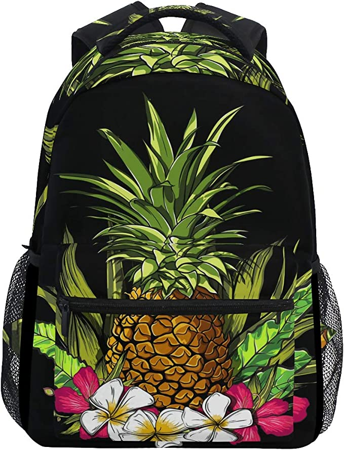Family Of Funny Pineapples In Sunglasses On The Beach School Backpack Laptop Backpacks Casual Bookbags Daypack for Kids Girls Boys and Women