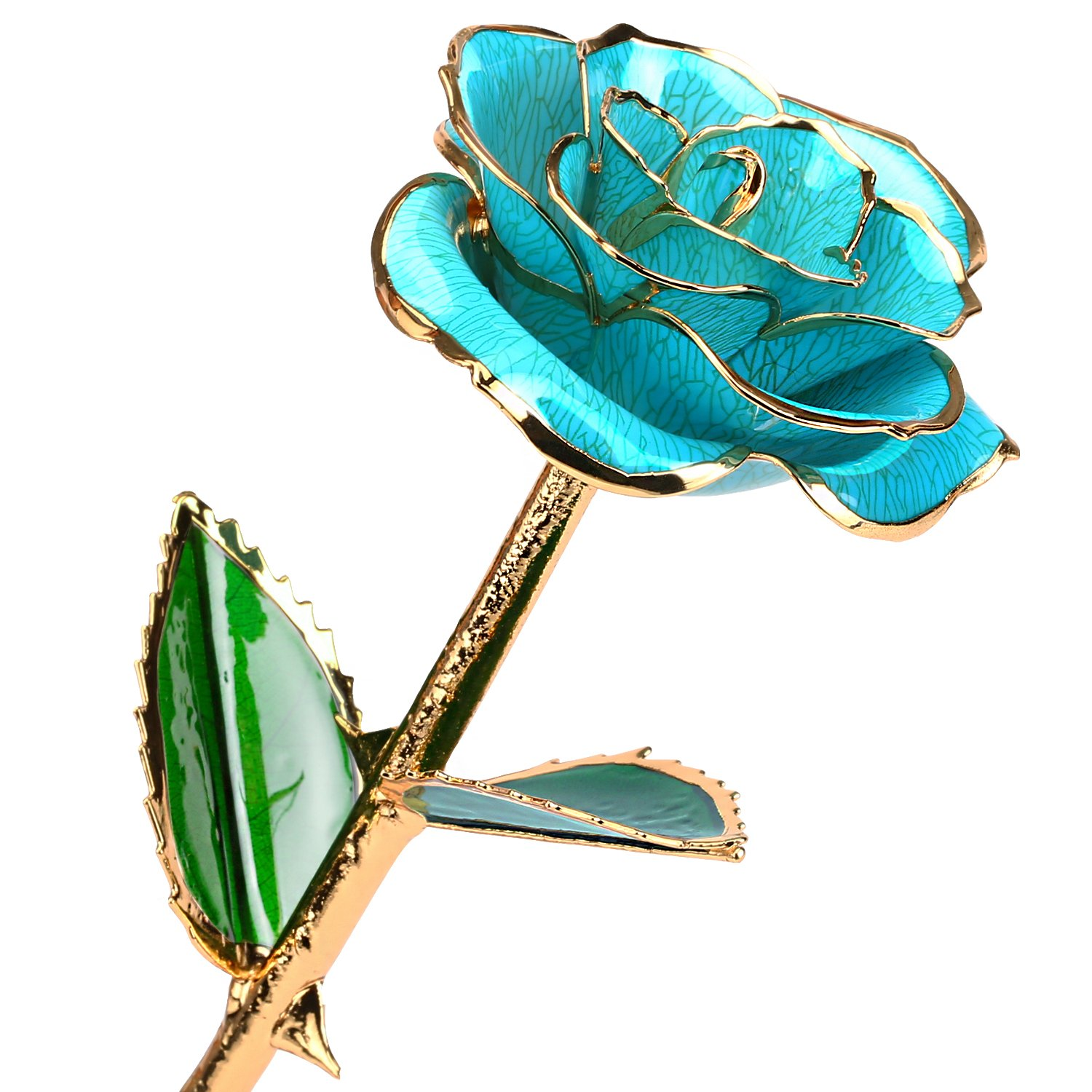 24k Gold Rose Flower with Long Stem Rose Dipped in Gold Gift for Women Girls on Birthday, Valentine's Day, Mother's Day, Christmas (Light Blue)