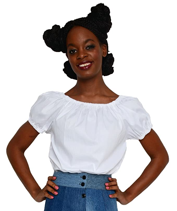 1940s Blouses, Shirts and Tops Fashion History White Peasant Blouse - Retro Boho Hippie Pirate Rockabilly Pin Up - Hey Viv $34.00 AT vintagedancer.com