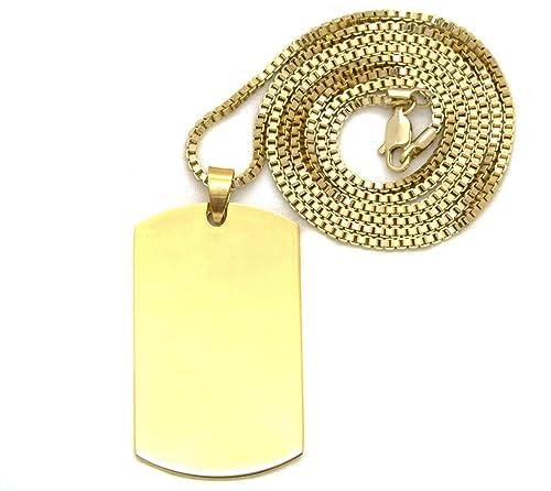 Amazon faux gold color plain dog tag pendant 2mm 24 box chain faux gold color plain dog tag pendant 2mm 24quot box chain necklace aloadofball Image collections