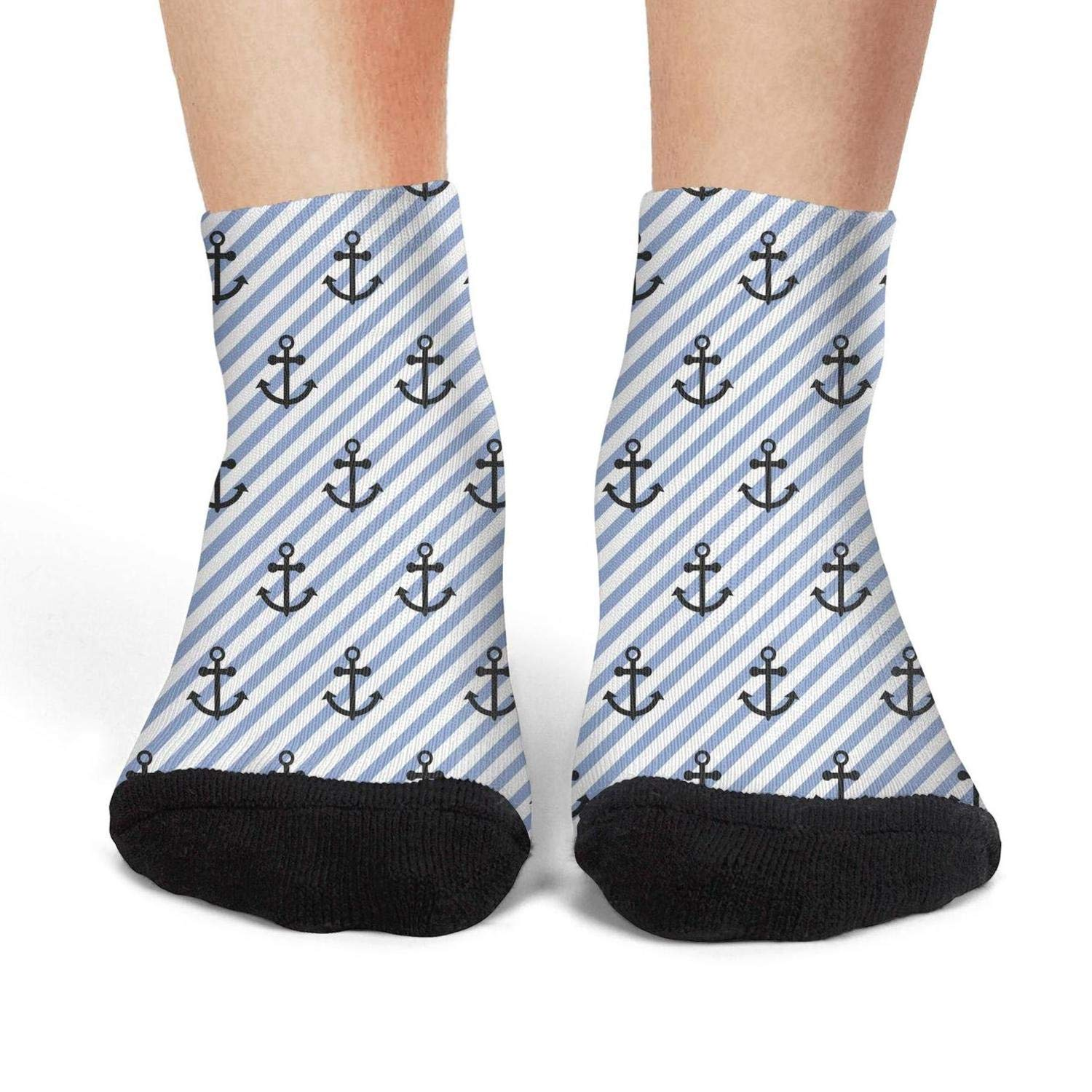 Mens athletic low cut Ankle sock nautical navy anchor stripe Non-Slip Breathable Short Sock