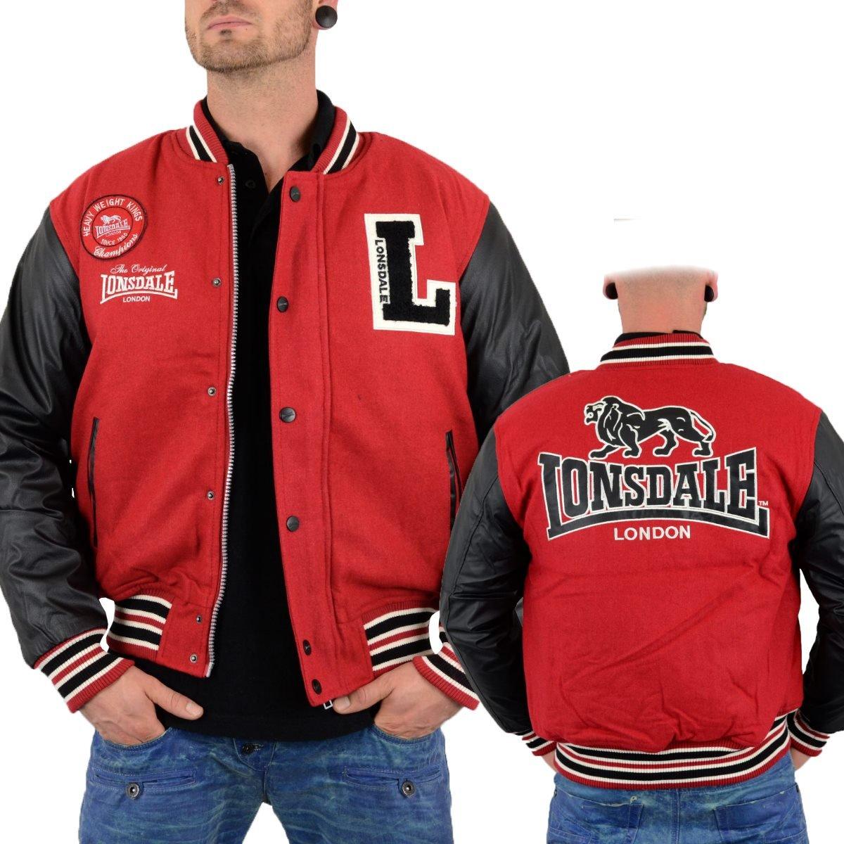 Lonsdale Herren Collegejacke OXFORD ALL SEASON in Dark RED