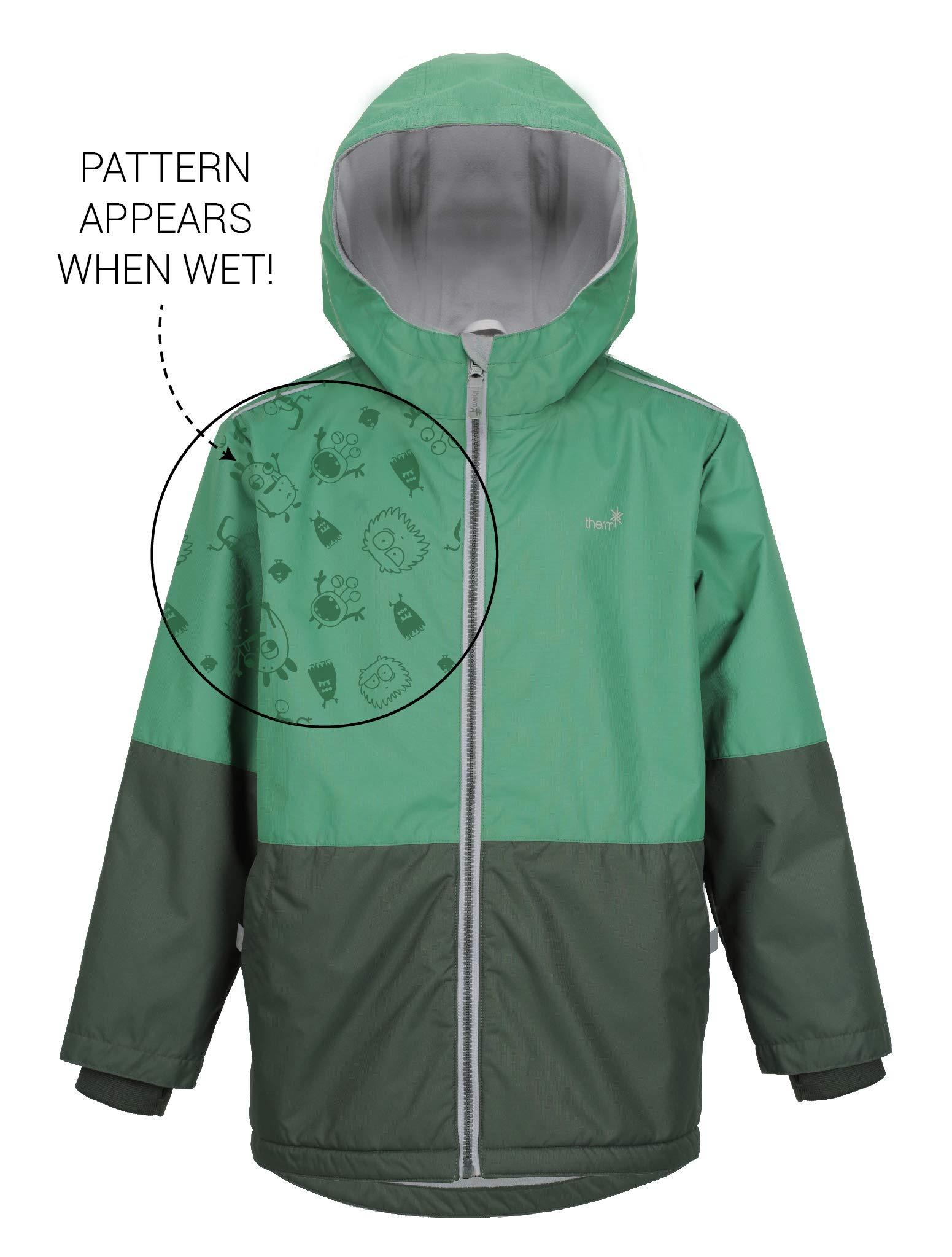 Therm SplashMagic Raincoat, Lightweight Waterproof Boys Rain Jacket with Magic Pattern (10, Army Green)