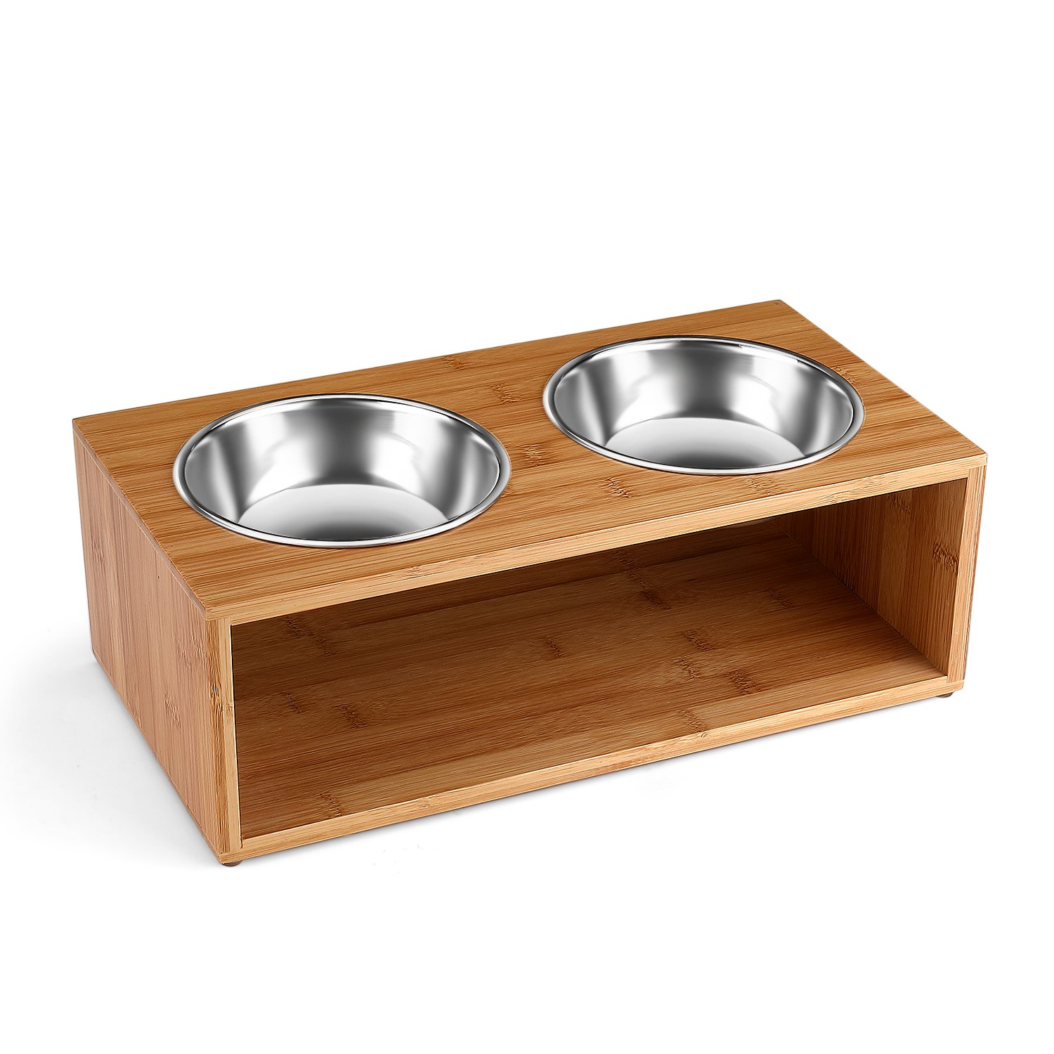 Flexzion Elevated Raised Dog and Cat Pet Feeder Bowls - Raised Stand Feed Station Tray Waterer with Double Stainless Steel Bowl Dish for Dog Cat Food and Water (14 Oz, 4.7'' Tall) Modern Bamboo Style by Flexzion