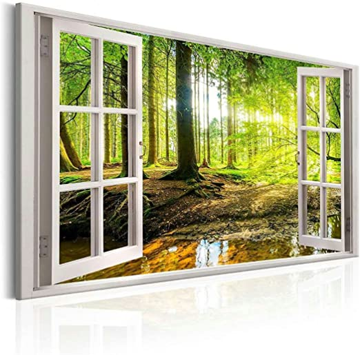 Sea And Sky by Fake 3D WindowReady to hang canvasWall art oil painting
