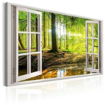 Canvas Prints Wall Art Paintings Green Tree Open Window Wall Muraland Forest And Framed Artwork Ready To Hang For Home Decorations Wall