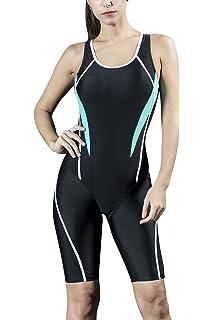 Dolamen Women s One Piece Boyleg Legsuit Sports Swimming Costumes Swimwear 436c2799146
