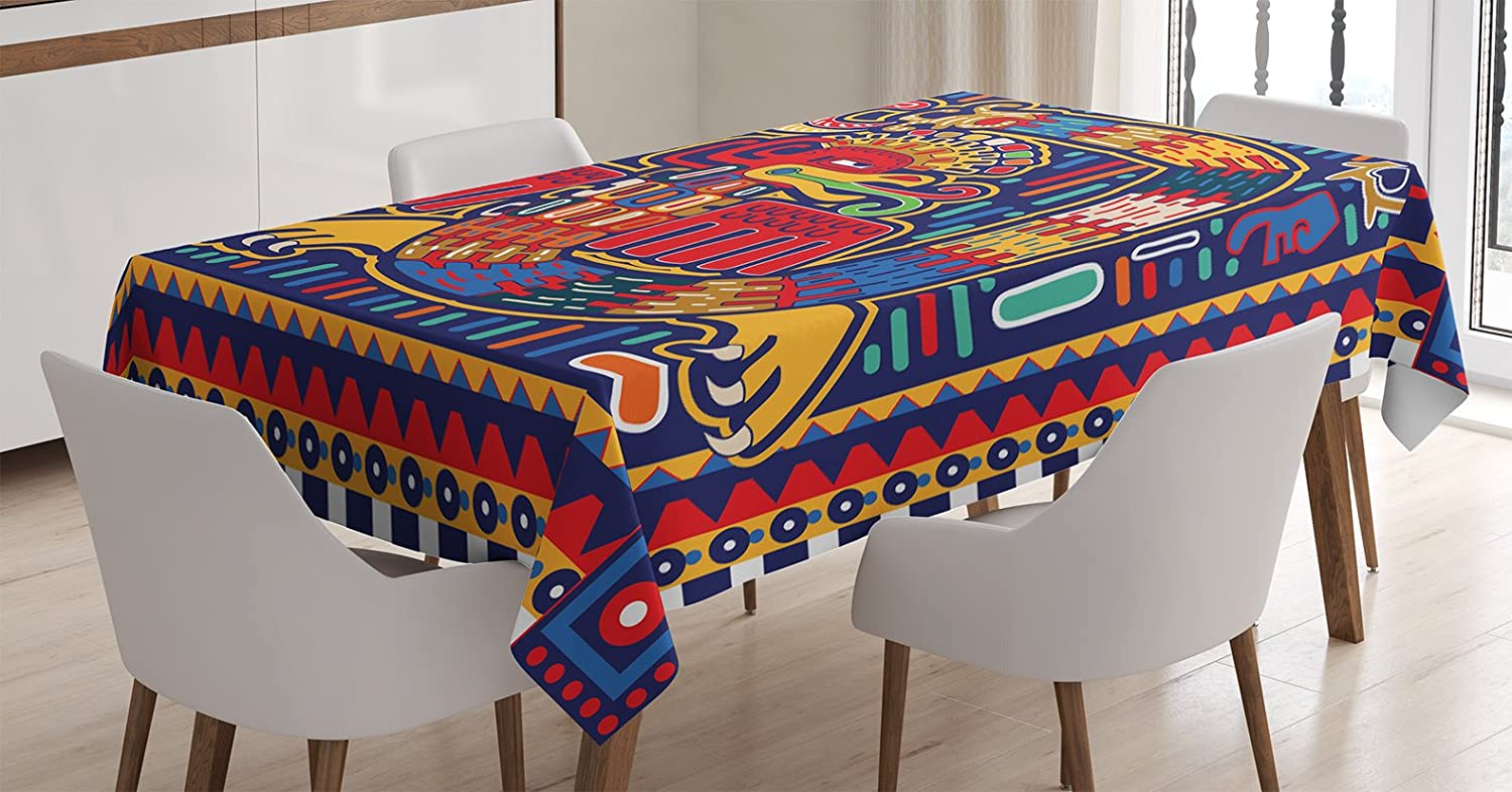 Dining Room Kitchen Rectangular Table Cover Ambesonne Rainbow Tablecloth 60W X 84L inches Multicolor Vibrant Rainbow Colored Stripes Horizontal Pattern Funky Texture Illustration Print