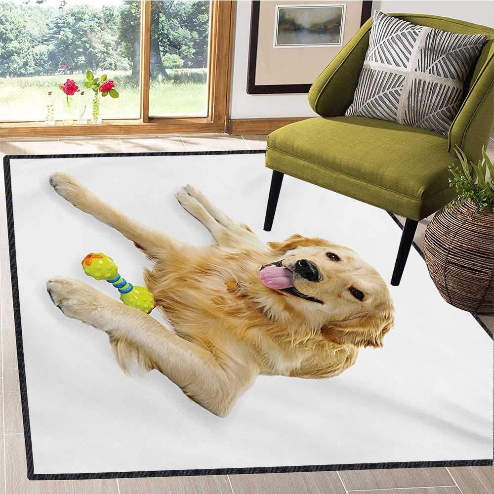 Golden Retriever エリアラグ ハート ペット 犬 横たわる おもちゃ フレンドリー 国産 子犬 遊び心のあるコンパニオン ドアマット 内側 5x6フィート マルチカラー  B07RPF1HH7