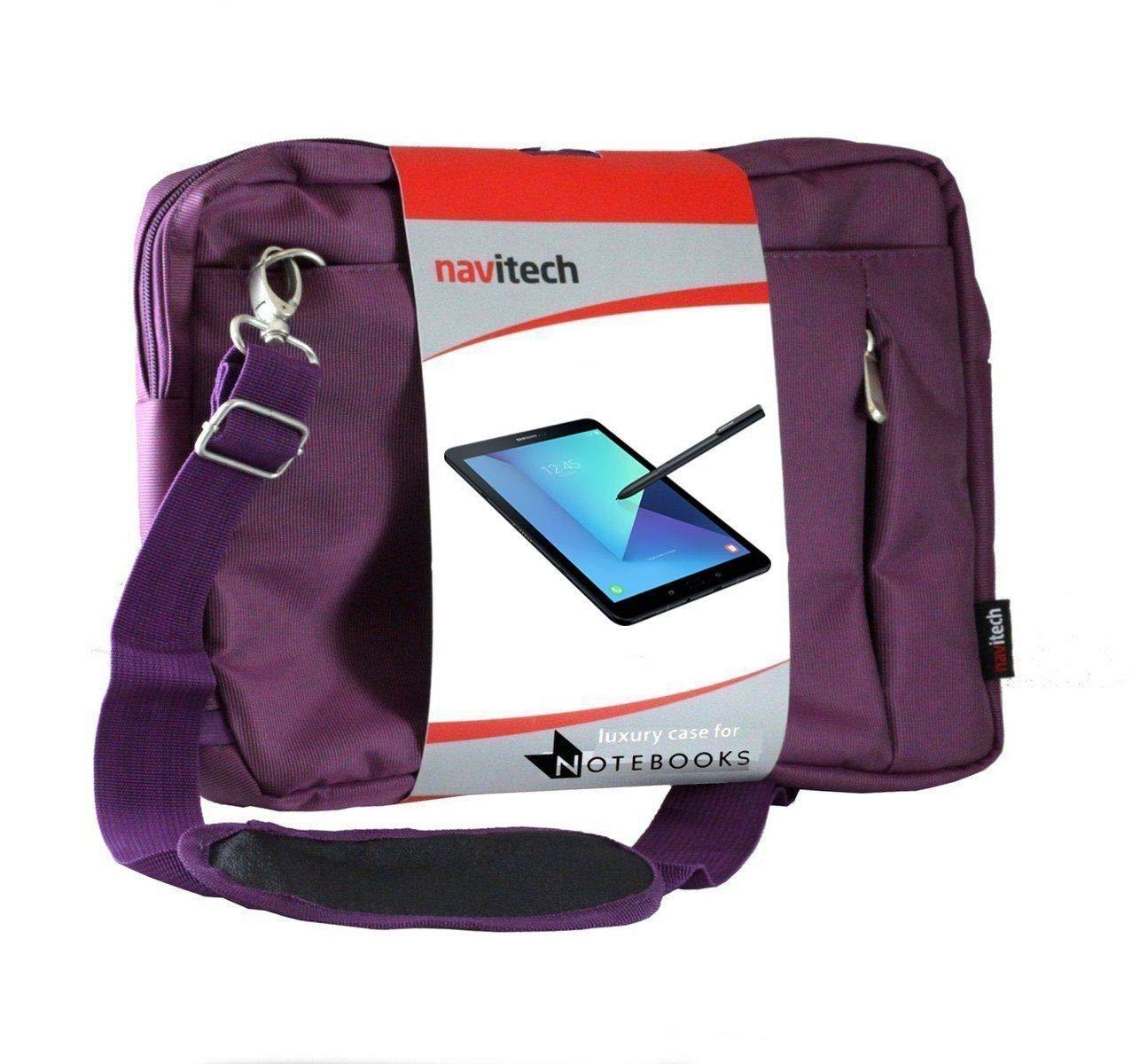Navitech Purple Sleek Premium Water Resistant Shock Absorbent Carry Bag Case Compatible with The LG G Pad F 8.0 | LG G Pad V495 | LG G Pad X 8.0 V520 | LG GPad X2 8.0 Plus V530 | LG G Pad V400