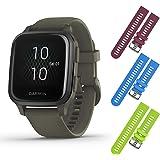 Garmin Venu Sq Music GPS Fitness Smartwatch and Included Wearable4U 3 Straps Bundle (Berry/Blue/Lime, Moss/Slate 010-02426-03