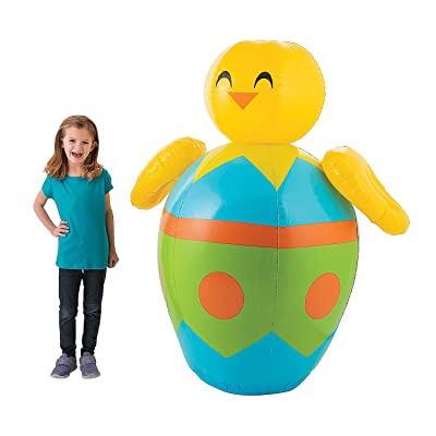 Fun Express Giant Inflatable Easter Egg Decoration (5 feet Tall) Blowup Easter Egg Decor: Toys & Games