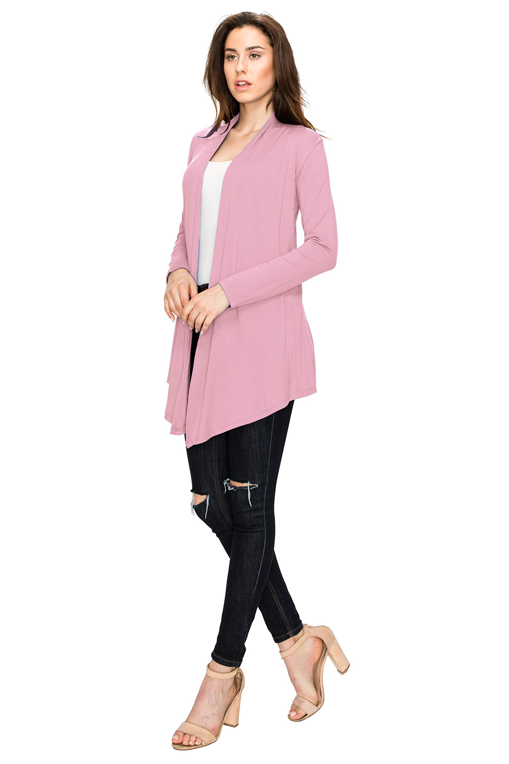 WSK850 Womens Draped Open- Front Cardigan XXL Pink by Lock and Love (Image #3)