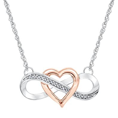 092791ce1a Image Unavailable. Image not available for. Color: Two-Tone Interlocking  Heart Infinity Pendant 1/15ctw