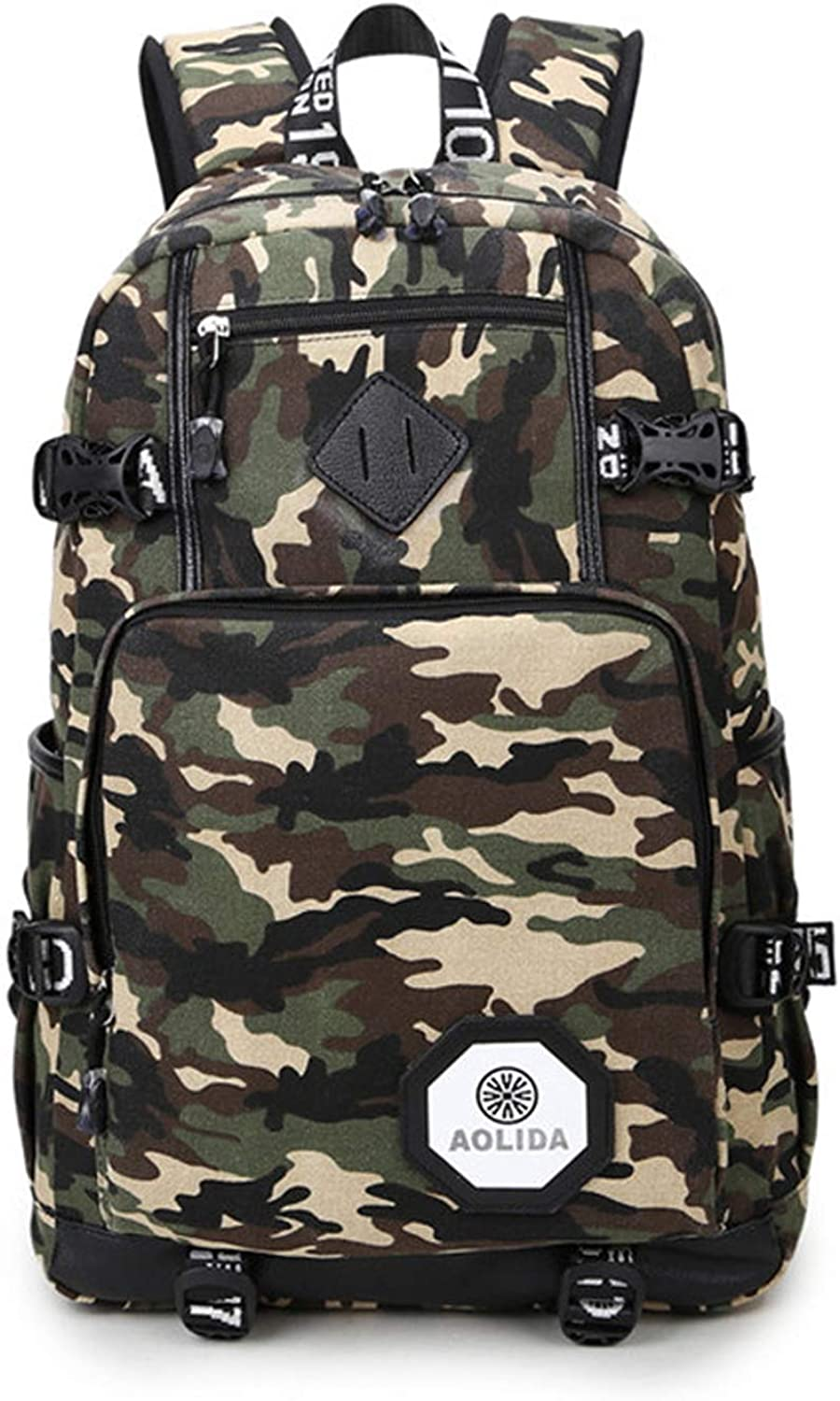 Travel laptop backpack, Business computer backpack with USB charging port, Suitable for 15.6-inch laptop, Camouflage fashion casual, Outdoor hiking waterproof camping backpack, Great gift for both boys and girls students