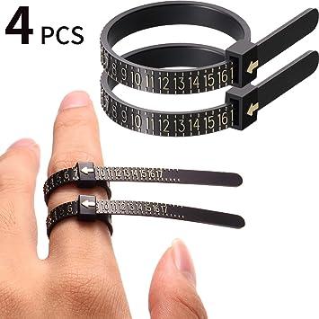 Tanjin Black US UK Ring Sizer Set Jewelry Measurement Plastic Finger Sizer Ring Gauge Measuring Tool Belt for Womens Mens Kids 2 PCS