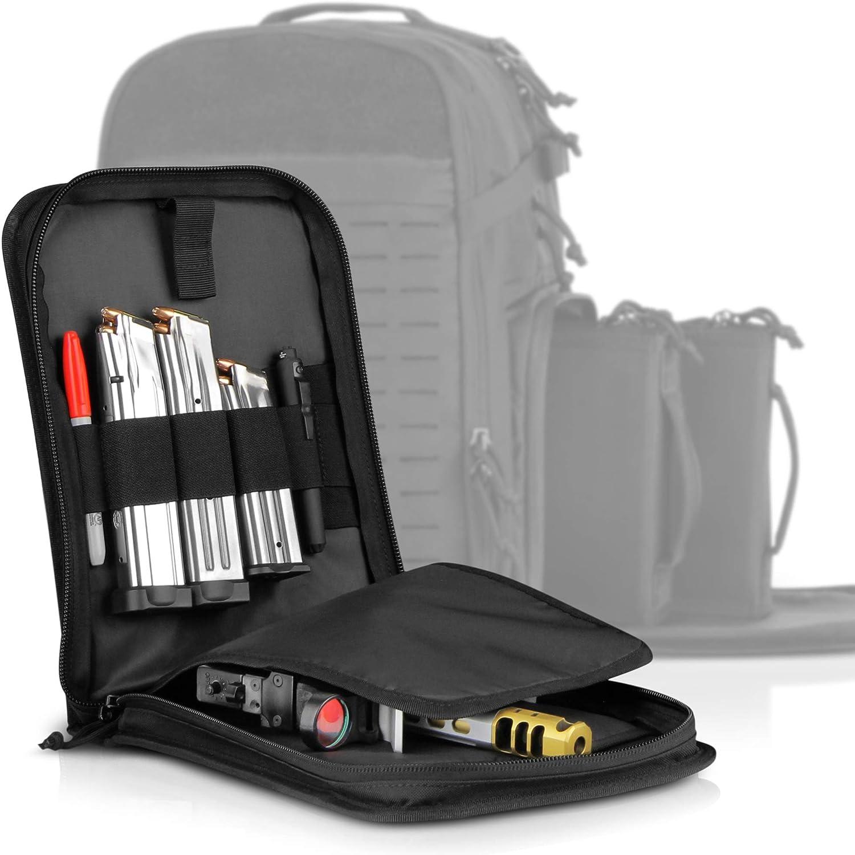 Savior Equipment Padded Tactical Single Handgun Pistol Bag Firmarm Case for SEMA Magnum XL Range Backpack - Lockable Zipper, Elastic Magazine Carrier