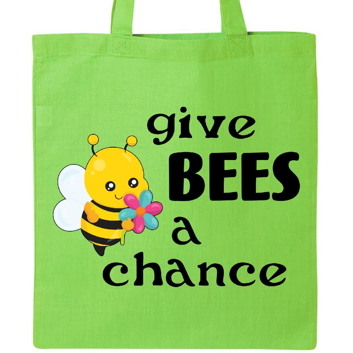Inktastic Give Bees A Chance Cute Beeトートバッグ One Size B06WW9KXN1  ライムグリーン