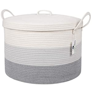 ComfyPro XXL Cotton Rope Basket with Lid (20 x 13 Inches) Sturdy Round Woven Decorative Storage Basket for Blankets, Toys, Laundry, Nursery - Long Durable Handles