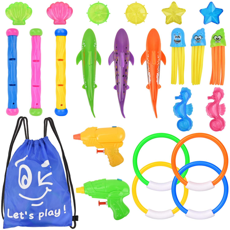 Diving Pool Toys,Diving Toys Set of 19 Pcs Swimming Pool Toys Underwater Sinking Swimming Pool Toy Underwater Diving Game Kit Treasures Gift Toys Set Underwater Toys for Pool Children