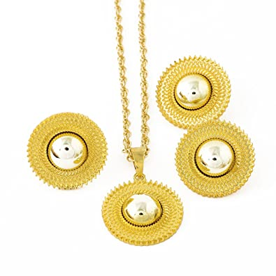 949c7508a Amazon.com: 24K Gold Plated Ethiopian Eritrean Traditional Jewelry  Accessories Bridal Wedding Sets: Jewelry