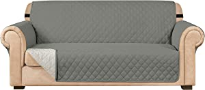 Subrtex Sofa Slipcover Reversible Sofa Cover Quilted Couch Cover Furniture Protector with Elastic Straps in Living Room Washable Slip Cover for Pets Kids Dogs (Sofa, Light Gray)
