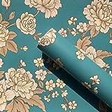 SimpleLife4U Vintage Peony Decorative Contact Paper Self Adhesive Shelf Drawer Liner Christmas Wall Art