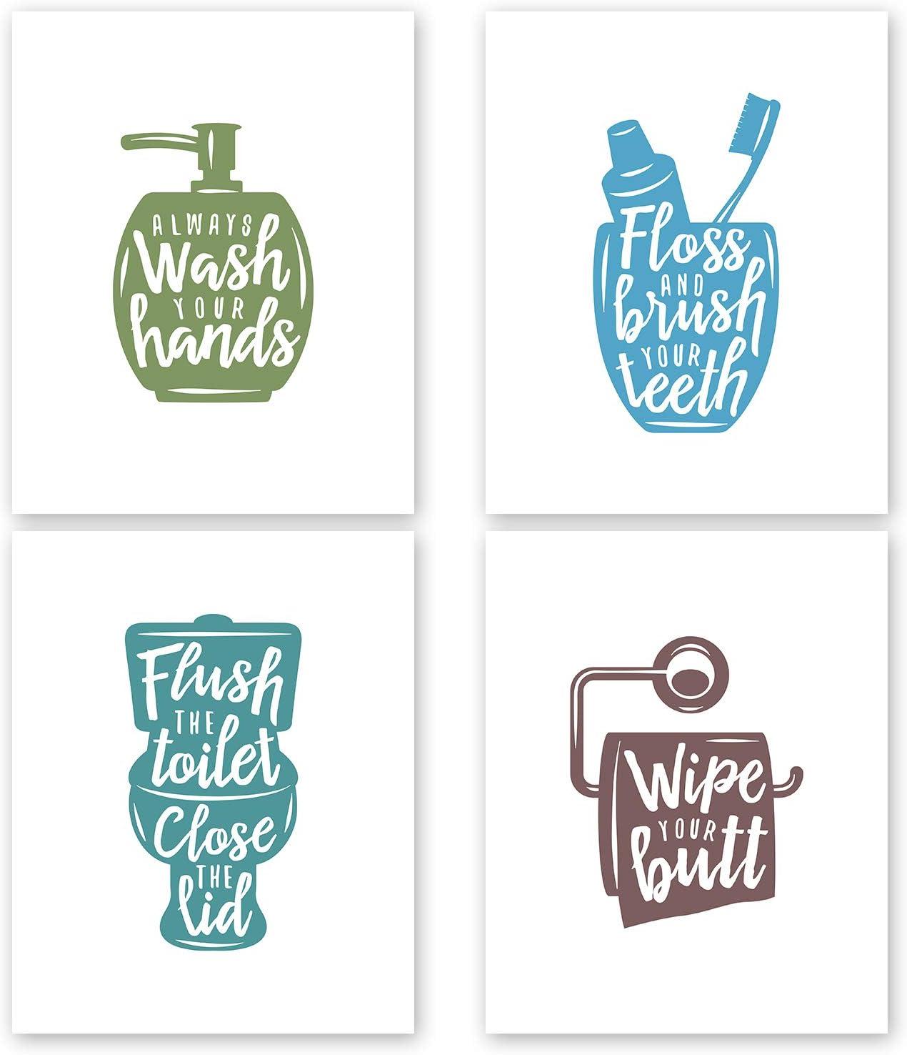 Nuah Prints Bathroom Wall Decor Prints, Set of 4 Toilet Quotes and Sayings Art Prints, Bath Decor Printed Photos, 8x10 inches (Set #2)