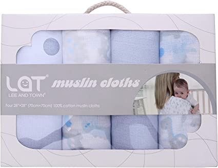 5 Pack Muslin Squares Reuseable 100/% Cotton Baby Boy Blue Bib Cloth Sensitive