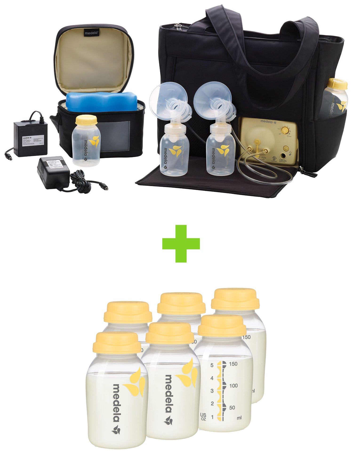 Medela Pump in Style Advanced Breast Pump with On the Go Tote with TEN Breast Milk Collection and Storage Bottles, 5 Ounce