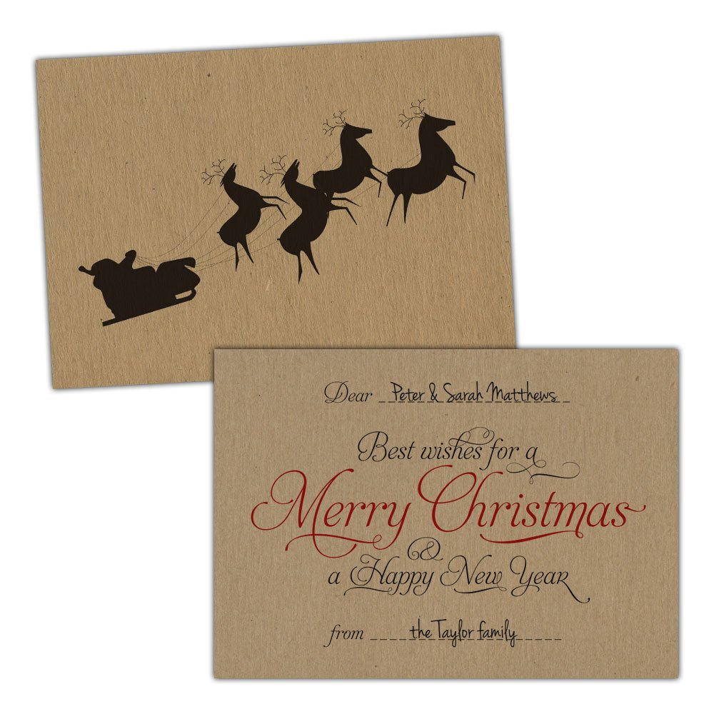 Marronee kraft Christmas cards SCRIPT SANTA SLED FLYING FREE KRAFT ENVELOPES (200, A5 bianca Fleck card)