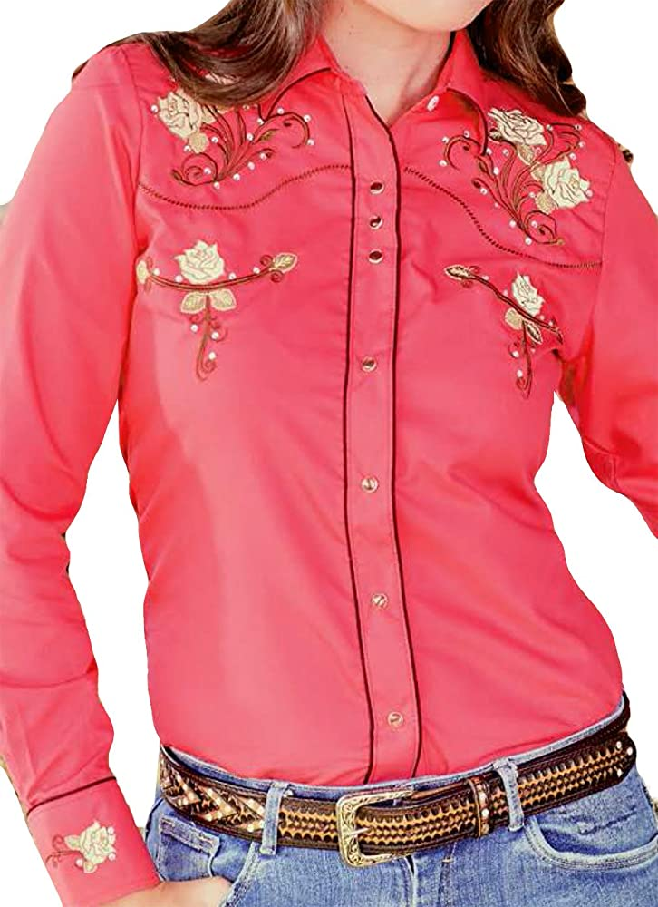 Modestone Womens Embroidered Fitted Western Camisa Vaquera Floral Fushia S: Amazon.es: Ropa y accesorios