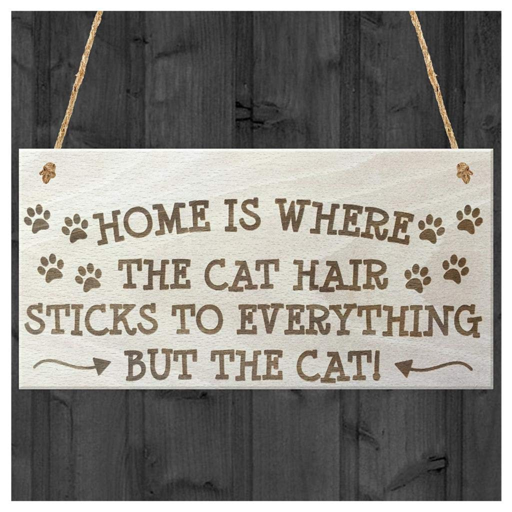 Helpful Novelty Wooden Hanging Home Is Where The Cat Hair Sticks To Everything Novelty Wooden Hanging Plaque Cats Owner Gift Sign 100% Original Plaques & Signs