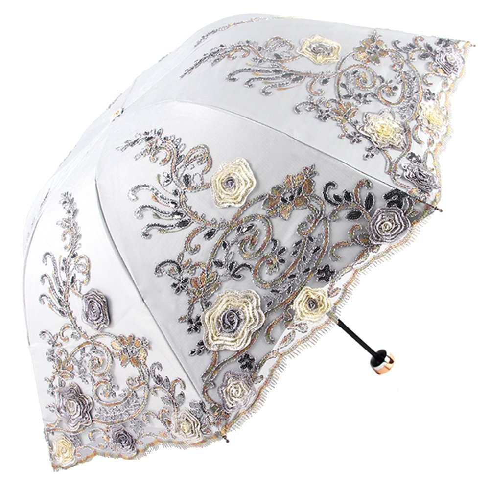 Honeystore Sun Protection Vintage Lace Parasol Decorative Umbrellas for Wedding BM1820 Grey