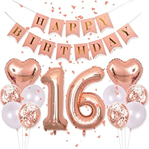 """Sweet 16th Decorations Pink Happy Birthday Banner 40inch Rose Gold Number 16 Balloons Rose Gold Confetti Balloons 1"""" in Diameter Heart Confetti for 16th Birthday Party Supplies Photo Props"""