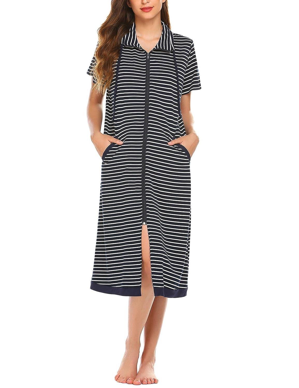 Ekouaer Womens Striped Robe Short Sleeve Nightgown Soft Sleepwear Housecoat and House Dress S-XXL