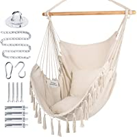 WBHome Extra Large Hammock Chair Swing with Hardware Kit, Hanging Macrame Chair Cotton Canvas, Include Carry Bag & Two…