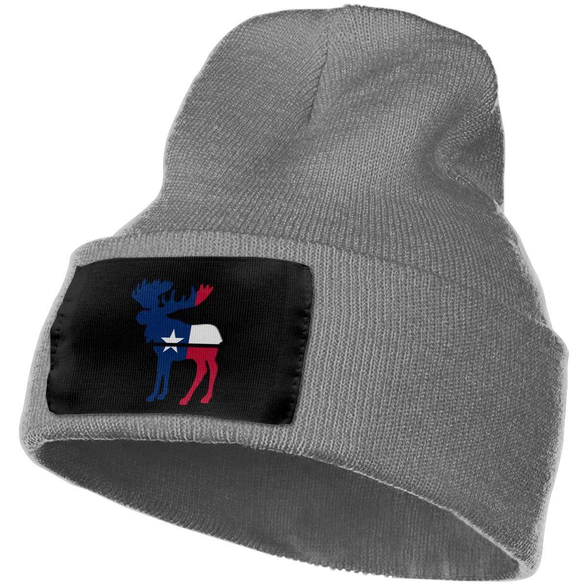 100/% Acrylic Skull Cap MXMAOM9MX Moose Texas Flag Warm Knitting Hat Mens Womens
