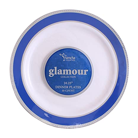 Party Bargains White Plastic Plates | Elegant Blue Silver Border Durable Glamour Collection China-like  sc 1 st  Amazon.com & Amazon.com: Party Bargains White Plastic Plates | Elegant Blue ...
