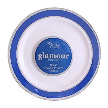 Amazon.com Party Bargains White Plastic Plates | Elegant Blue Silver Border Durable Glamour Collection China-like Plate Perfect for Wedding and Party ...  sc 1 st  Amazon.com & Amazon.com: Party Bargains White Plastic Plates | Elegant Blue ...