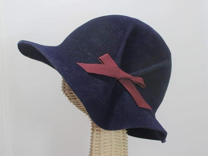 Amazon.com  Eva Navy Blue 30s Style Pleated Cloche Hat in Velour Felt   Handmade e2da82cb0eb
