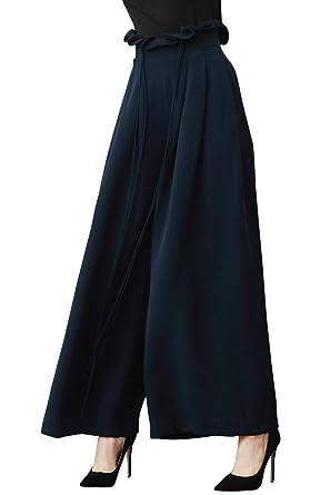 1a2bf9ef03663 VOA Women s Heavy Silk High Waist Ruffle Drawstring Plus Size Office Lady Wide  Leg Pants Solid