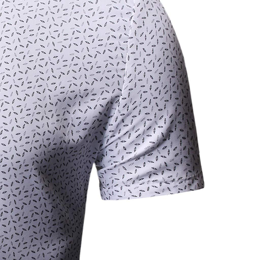 Smorran Mens Business Short-Sleeved Shirt Floral Collar Breathable and tieable UV-Resistant