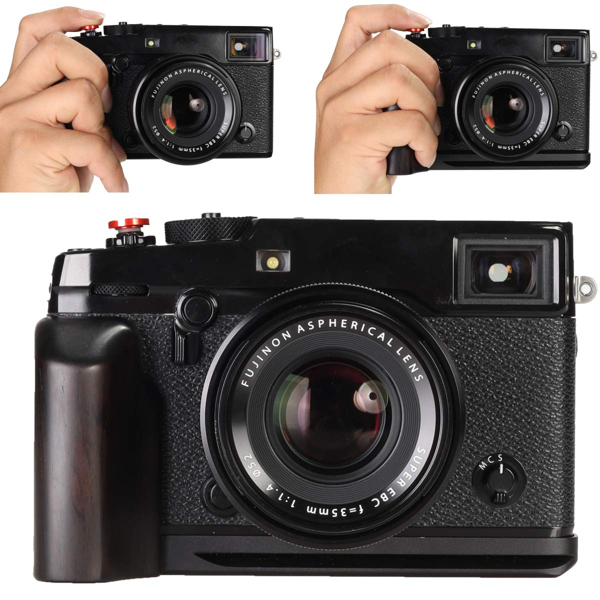WEPOTO GP-X1EM-B Tripod Quick Release L Plate Metal Bracket Wooden Camera Hand Grip For Sony A9 A7III A7M3 a7RIII a7RM3 a7RII a7RM2 a7II a7M2 a7SII a7SM2