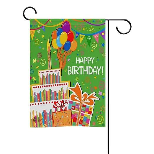 Mi día feliz cumpleaños decorativos doble cara bandera de Jardín 12 x 18 y 28 x 40 inch: Amazon.es: Jardín
